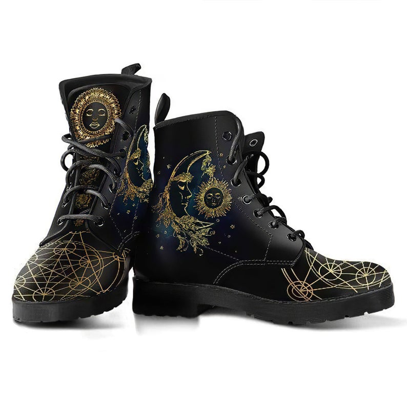 Black Sun Moon Shoes, Leather Boots